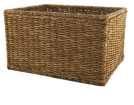 Large Woven Basket transitional-baskets