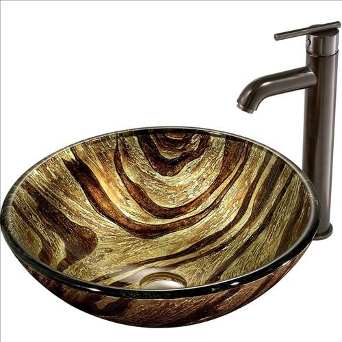 VIGO VGT167 Zebra Vessel Sink and Faucet traditional-bathroom-sinks