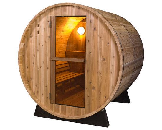 "Greenbrier Valley Western Red Cedar Barrel Sauna - -Made from solid, 1-3/8"" thick Canadian Western Red Cedar"