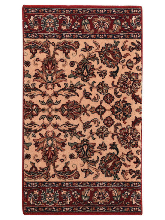 Ashton Floral Meshed runner roll rug in Cream Red - These rugs boast superb clarity of design and the finest finishing any Belgian company can possible provide.
