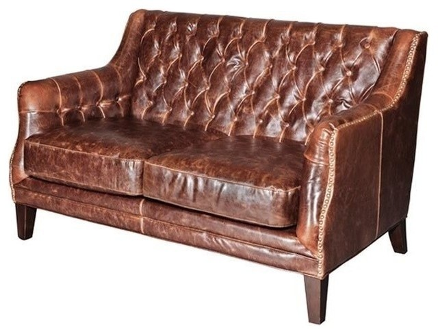 New Leather Settee Consigned Antiqued Brown traditional-sofas
