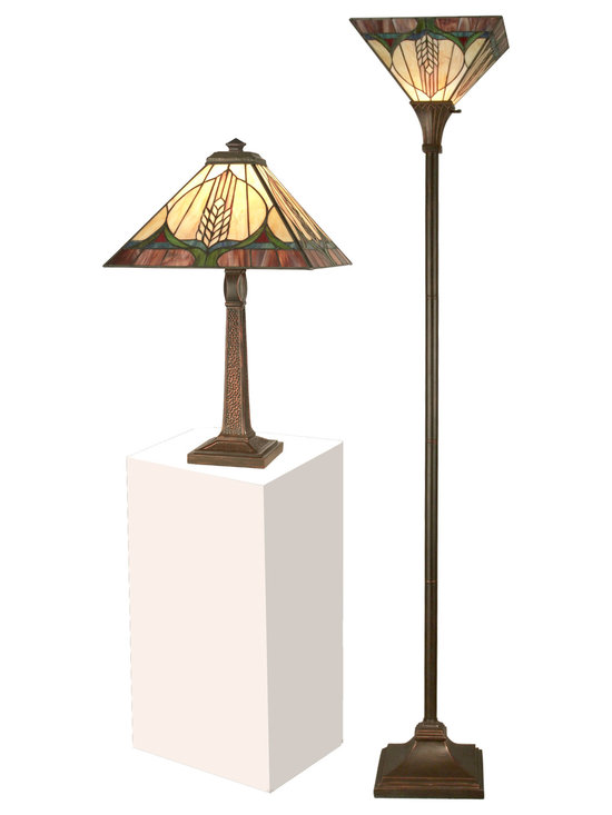 Dale Tiffany - Dale Tiffany TC11173 Stanton Mission Table & Floor Lamp Set - Shade: Hand Rolled Art Glass