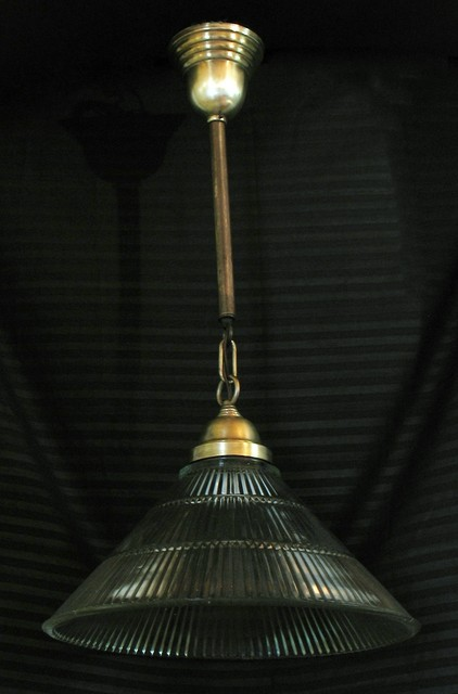 Brass and glass vintage kitchen fixture eclectic-pendant-lighting