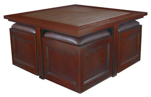 Hammary Kanson Cocktail Table With Storage Cubes In Oxblood Finish Traditional Coffee Tables