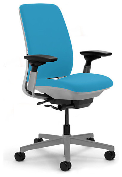 Steelcase amia task chair platinum base w arms amp soft casters blue