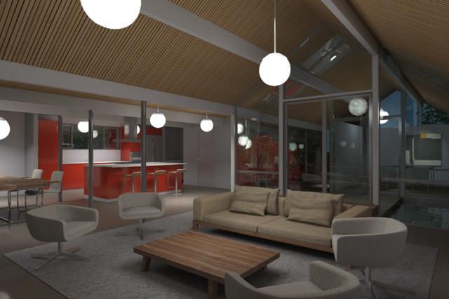 Living Space midcentury-rendering