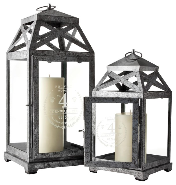 Privet House Galvanized Hurricanes traditional candles and candle holders