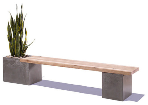 Concrete Wood Planter Bench By Tao Concrete Modern Outdoor Benches By Etsy