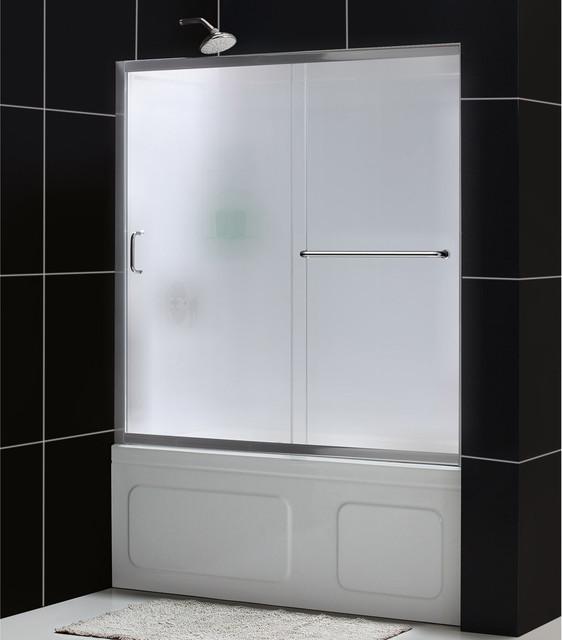 "Infinity-Z 56 to 60"" Frameless Sliding Tub Door and QWALL-Tub Backwall Kit contemporary-bathtubs"