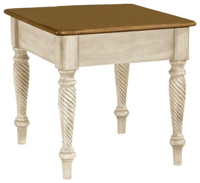 Square End Table W Antique White Finish Wilshire Contemporary Side Tables And End Tables