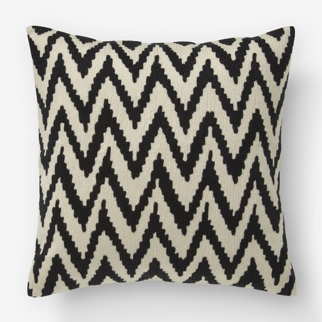 Chevron Crewel Pillow Cover, Iron/Muslin - Modern - Decorative Pillows - by West Elm