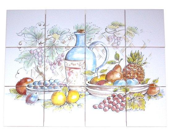 "Mottles Murals Ceramic Tiles - Country Wine and Grapes Ceramic Tile Mural Back Splash 12pcs 4.25"" Kiln Fired - Country Wine and Grapes Ceramic Tile Mural"