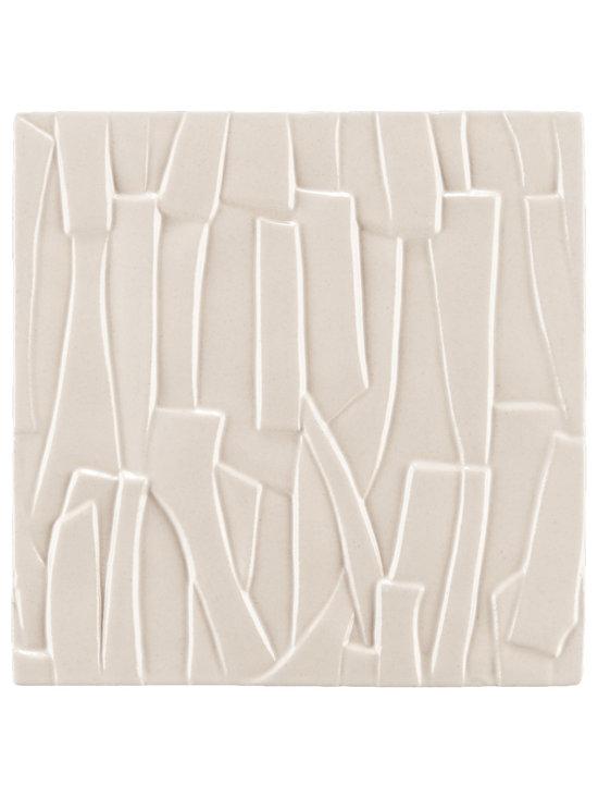 """Ceramic - ANN SACKS Chinois by Robert Kuo 9"""" x 9"""" kuai ceramic field in ecru"""