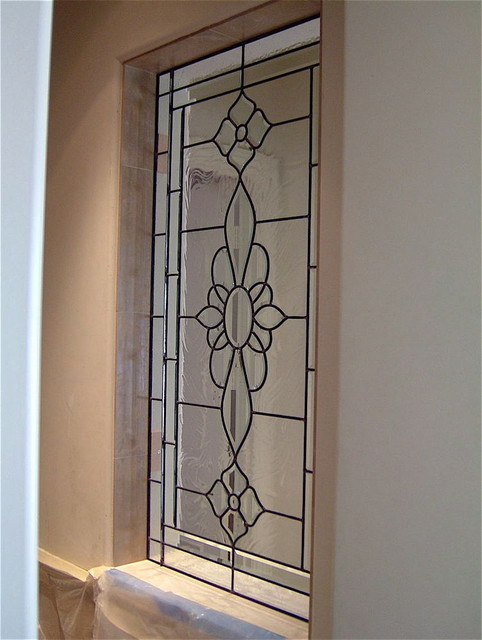 Bathroom Windows - LEADED ROSETTE -  Frosted Glass Designs Privacy Glass windows