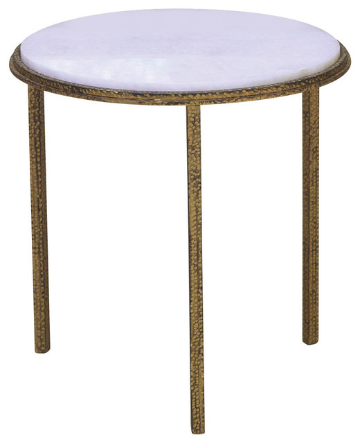 Hammered gold round table transitional side tables and for Round gold side table