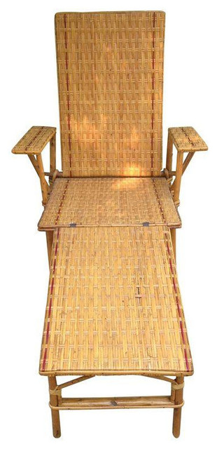 1920s 1930s vintage wicker and bamboo chair tropical for 1920s chaise lounge