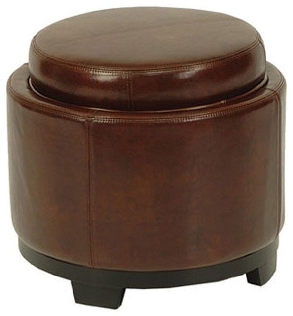 round storage leather ottoman contemporary footstools