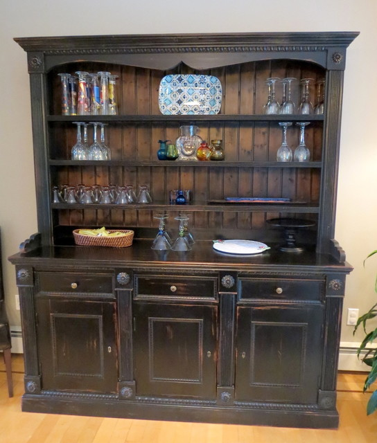 Large Reclaimed Wood Hutch Traditional China Cabinets