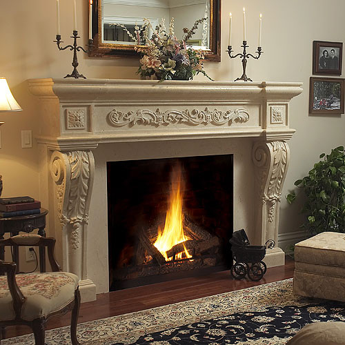 Parisian Stone Fireplace Mantel Traditional Fireplaces