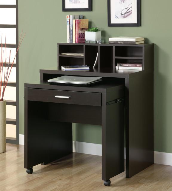 Computer Desk - Cappuccino Hollow Core Open Storage Computer Desk