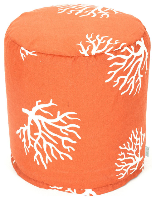 Outdoor Burnt Orange Coral Small Pouf