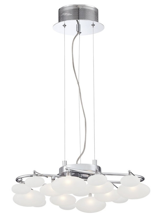 """Possini Euro Design - Possini Euro Lilypad 20"""" Wide Chrome Multi Light Pendant - Contemporary multi-light pendant. Chrome finish. From Possini Euro Design. Opal etched glass shades. Includes eight 20 watt G4 halogen bulbs. 20"""" wide.  Contemporary multi-light pendant.   Chrome finish.   From Possini Euro Design.   Etched globes.  Includes eight 20 watt G4 12V halogen bulbs.   Color temperature is 2000K.   Includes 10 feet of adjustable clear cable.   Measures 21"""" wide 20 1/2"""" deep 5 1/2"""" high.   Canopy is 6 1/2"""" wide.   Hanging weight is 12 lbs."""