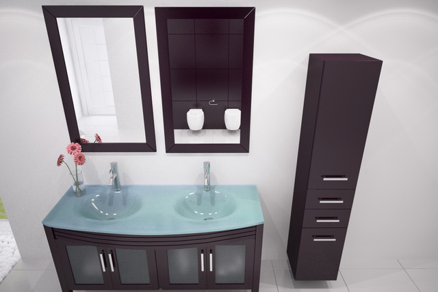 48 Regent Double Bathroom Vanity With Glass Top Modern By BathGems