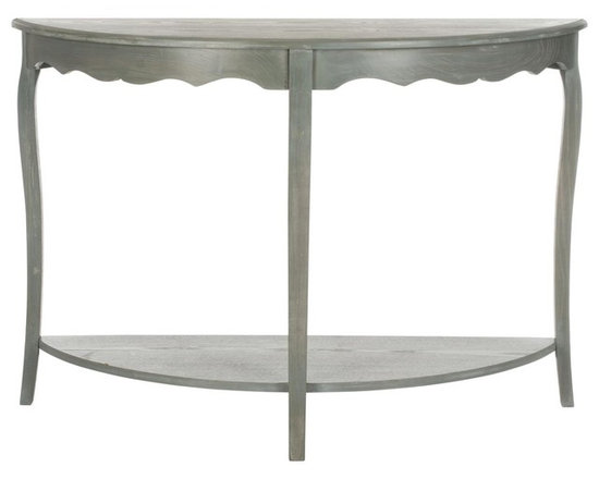 Safavieh - Christina Console - Ash Grey - It's a learning curve. Combining the tradition of the half-moon style table with a gentle, romantic touch, the Christina Console updates a hallway or entryway with its ash grey palette. Crafted of elm wood with scalloped apron and lower shelf, it's a wise addition to any decor.