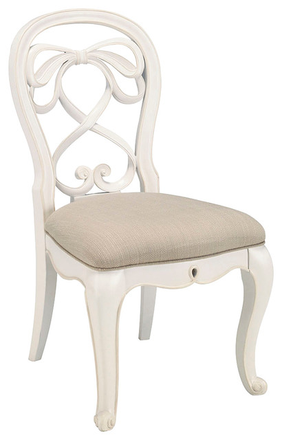 Lea Elite Vintage Boutique Vanity Desk Chair With Fabric Seat In White Trad