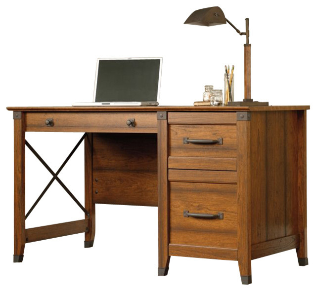 Sauder Carson Forge Desk In Washington Cherry Farmhouse