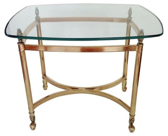 Vintage Regency Brass And Glass Side Table