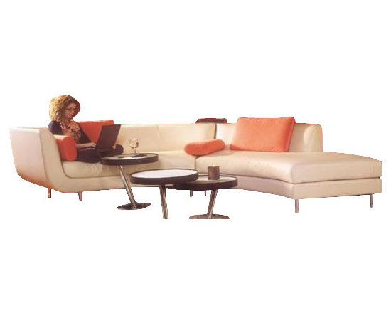 Scene Furniture - Two Piece Curved Sectional Sofa - This two piece curved leather sectional works great within lofts, game rooms and any other space that requires a small sofa.