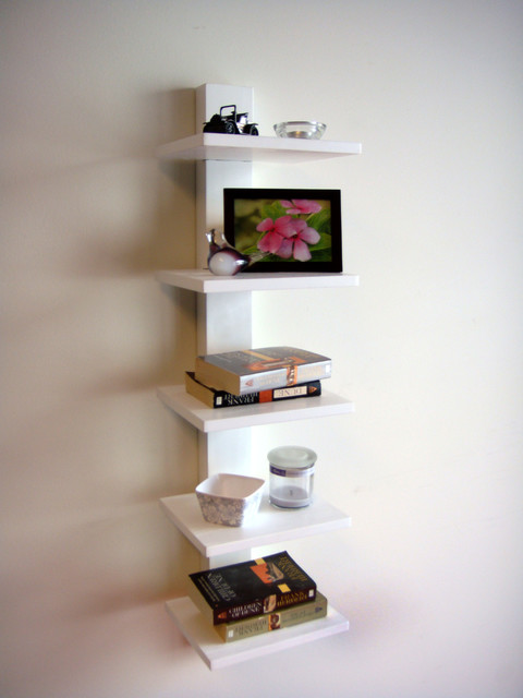 Spine Wall Book Shelves White