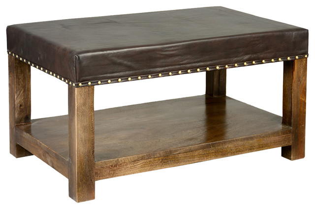 Leather Upholstered Mango Wood 34 2 Tier Coffee Table Bench Ottoman Contemporary Coffee