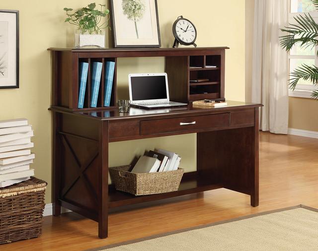 Adeline Desk with Hutch - Solid Wood Mocha Finish Desk modern-desks-and-hutches