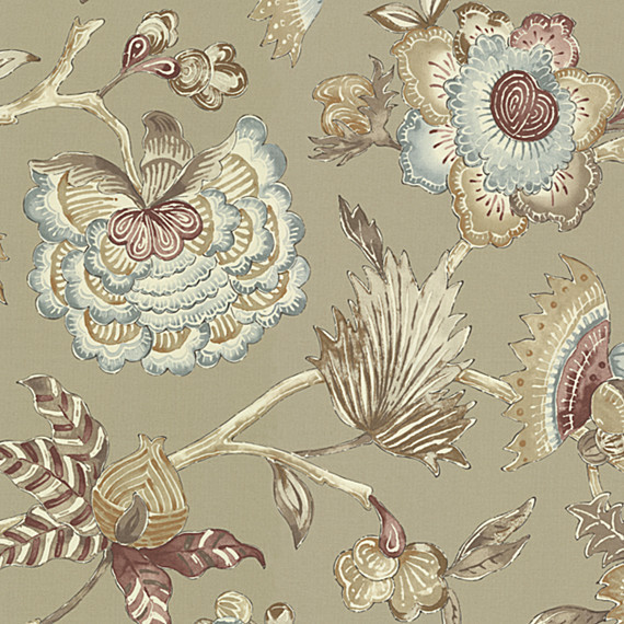 Gray & Purple Watercolor Floral Sateen Fabric traditional-upholstery-fabric