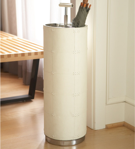 Traditional Umbrella Stand: Umbrella Stand-Beige Leather