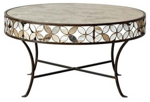 Stray Dog Designs Antique Mirror Coffee Table with Flowers traditional coffee tables