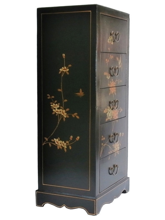 Black Chinese Leather Gold Flower Bird Painting Five Drawers Cabinet - Look at this Chinese five drawers cabinet which is made of solid elm wood. Especially, the outside of cabinet is wrapped by artificial leather, and it also comes with flower & birds painting around the cabinet. It can be also used as nightstand end table.