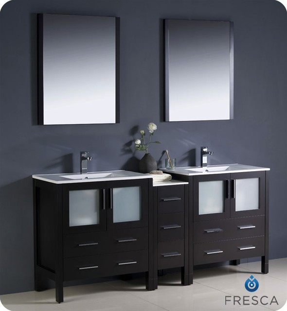"Fresca Torino 72"" Modern Double Sink Bathroom Vanity w/ One Side Cabinet & Two I modern"