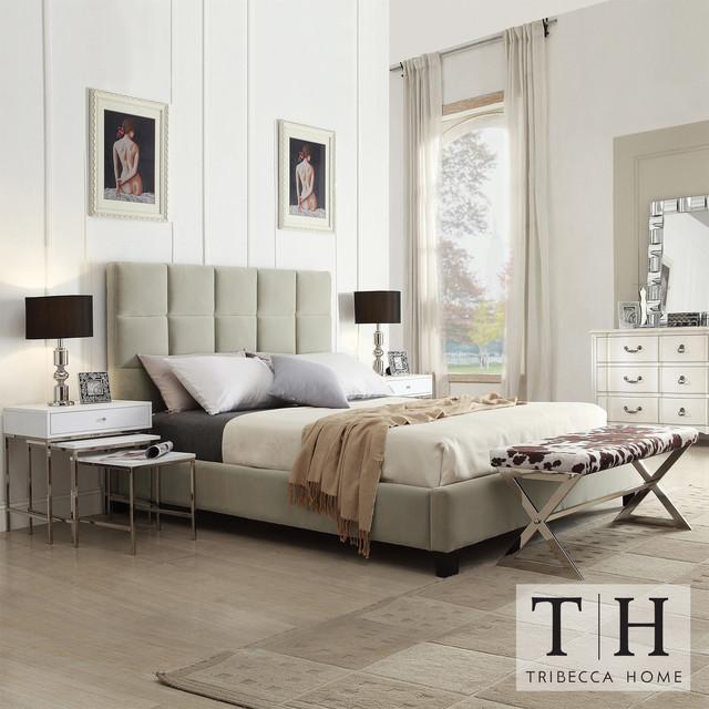 TRIBECCA HOME Sarajevo Taupe Velvet Column King-size Bed contemporary-beds
