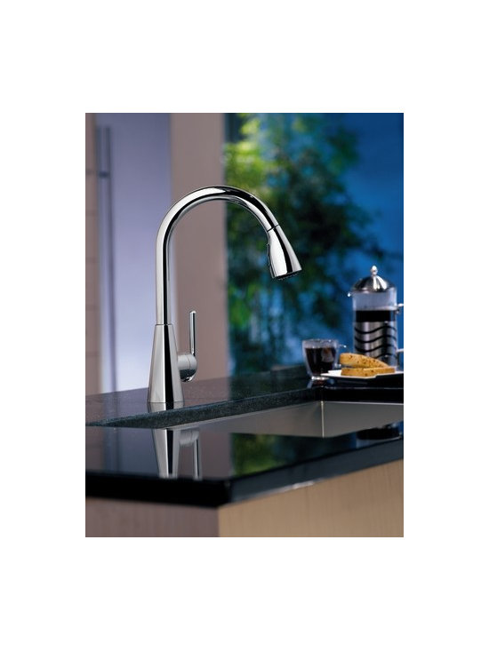Moen Ascent Chrome one-handle high arc pulldown kitchen faucet - With Ascent, modern style is anything but austere. Clean, precise and undeniably contemporary, Ascent kitchen and bar/prep faucets have a sweeping style that brings contemporary vibrancy to a space.