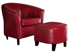 Red Leather Club Chair and Ottoman Combo modern-chairs