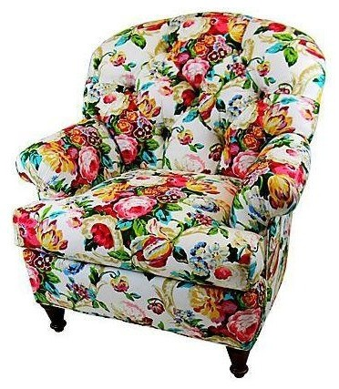 Pre Owned Chintz Floral Club Chair Contemporary