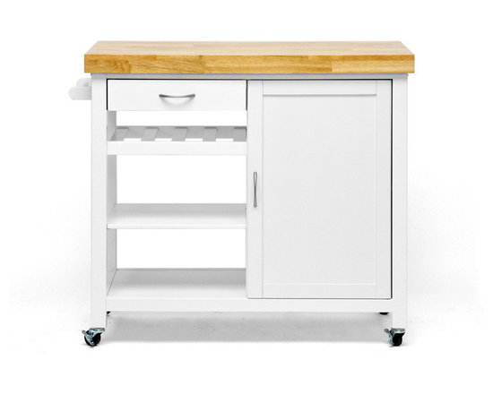 Baxton Studio - Baxton Studio Denver White Modern Kitchen Cart - The contemporary home cook can't go without two things in the framework of her kitchen: plentiful storage and appropriate appliances. Our Denver Kitchen Island covers your need for storage and then some! This multifunctional kitchen cabinet is a freestanding island that features four wheels for legs, each with a locking feature so it doesn't slip away while you are chopping fresh herbs and veggies. A towel bar, cabinet with concealed shelf, wine rack shelf, and two open shelves provide plentiful space for cookware, non-perishables, and sundries. The frame is made with a blend of engineered wood and rubber wood and is painted white at the base. Topping this is a beautiful solid wood butcher block countertop. This modern kitchen island requires assembly and is made in Malaysia. To clean, wipe with a damp cloth.