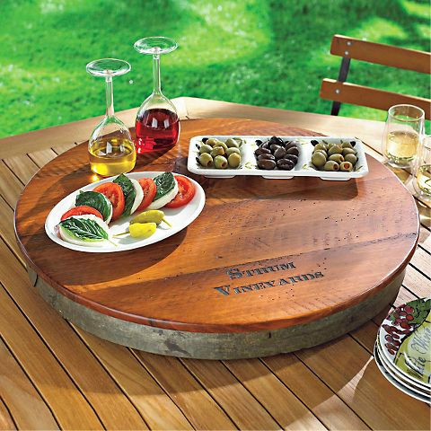 Personalized Raised Wine Barrel Lazy Susan - traditional - serving