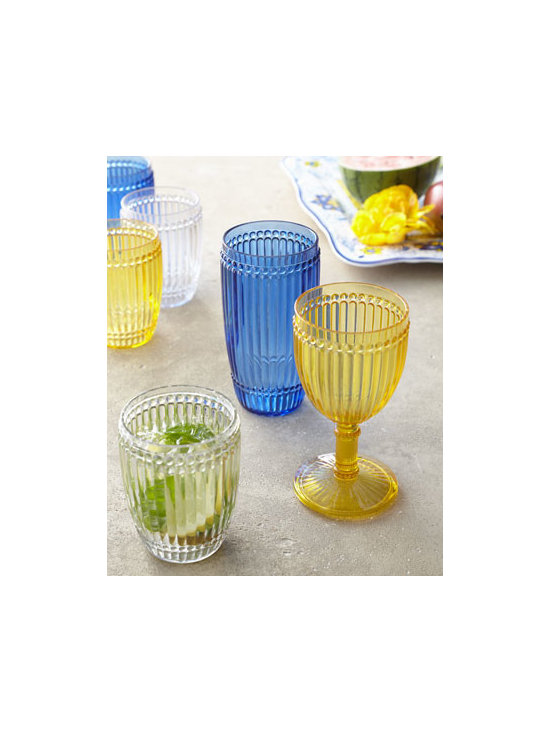"Horchow - ""Milano"" Polycarbonate Drinkware - Colorful polycarbonate drinkware with fluted bodies accented with bands of beading mix and match nicely with casual dinnerware. Dishwasher safe; do not microwave. Each size sold in sets of six. Select color when ordering. Small tumbler, 3.25""Dia. x...."