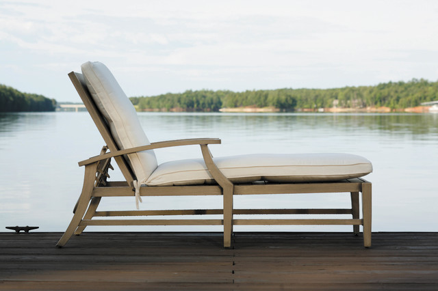 Wrought aluminum chaise lounge with outdoor cushion by for Aluminum chaise lounge outdoor