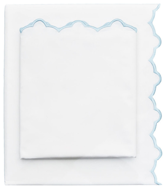 Embroidered Flat Sheet, Light Blue, Queen contemporary-sheets