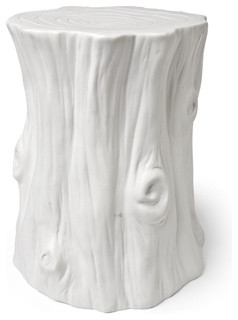 White Ceramic Tree Trunk eclectic-home-decor